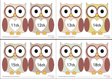 Numbers clipart 11 20 clip art free Owl Ordinal Numbers 11-20 clip art free