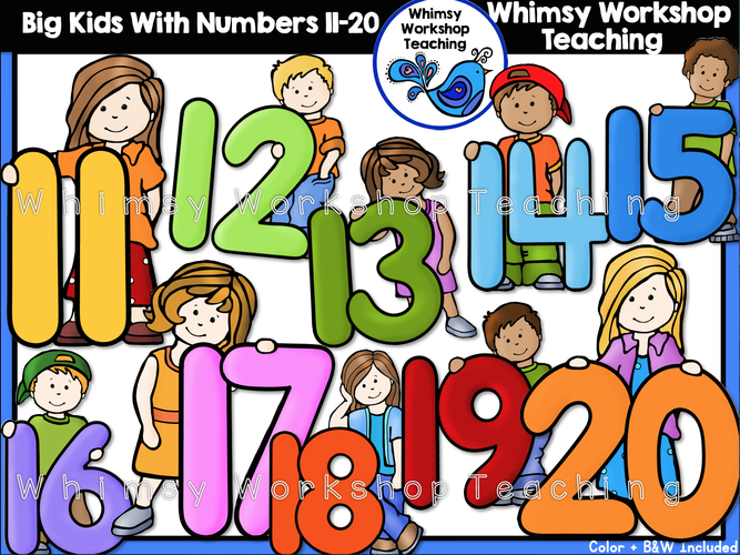 Numbers clipart 11 20 graphic library Big Kids at School - Whimsy Workshop Teaching graphic library
