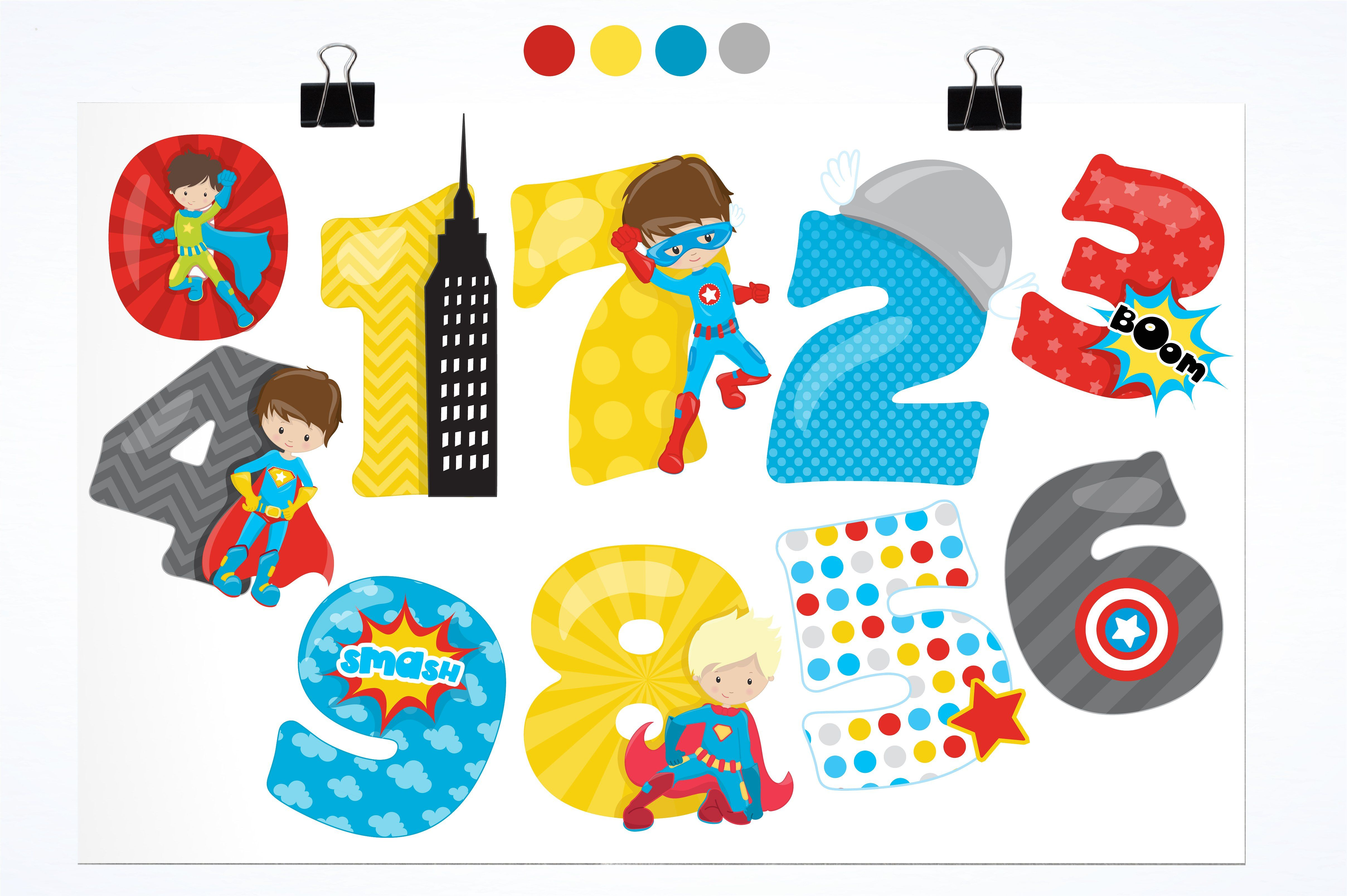Numbers clipart pack jpg transparent stock Superhero numbers illustration pack #separately#saved#quot ... jpg transparent stock