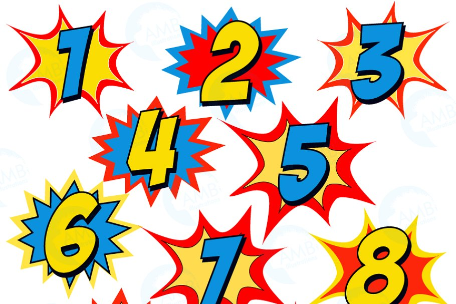 Numers clipart png Starburst Numbers Clipart, 1340 png