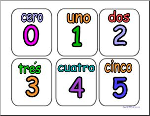 Numbers in spanish clipart graphic transparent stock Spanish Numbers (set 1) | abcteach graphic transparent stock