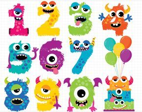Numeros clipart svg library Cute Monster ABC Alphabet Clipart, Monograms, Birthday Party ... svg library