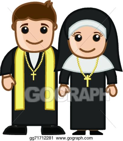 Nun cartoon clipart clipart library Vector Illustration - Cartoon priest and nun vector. Stock ... clipart library