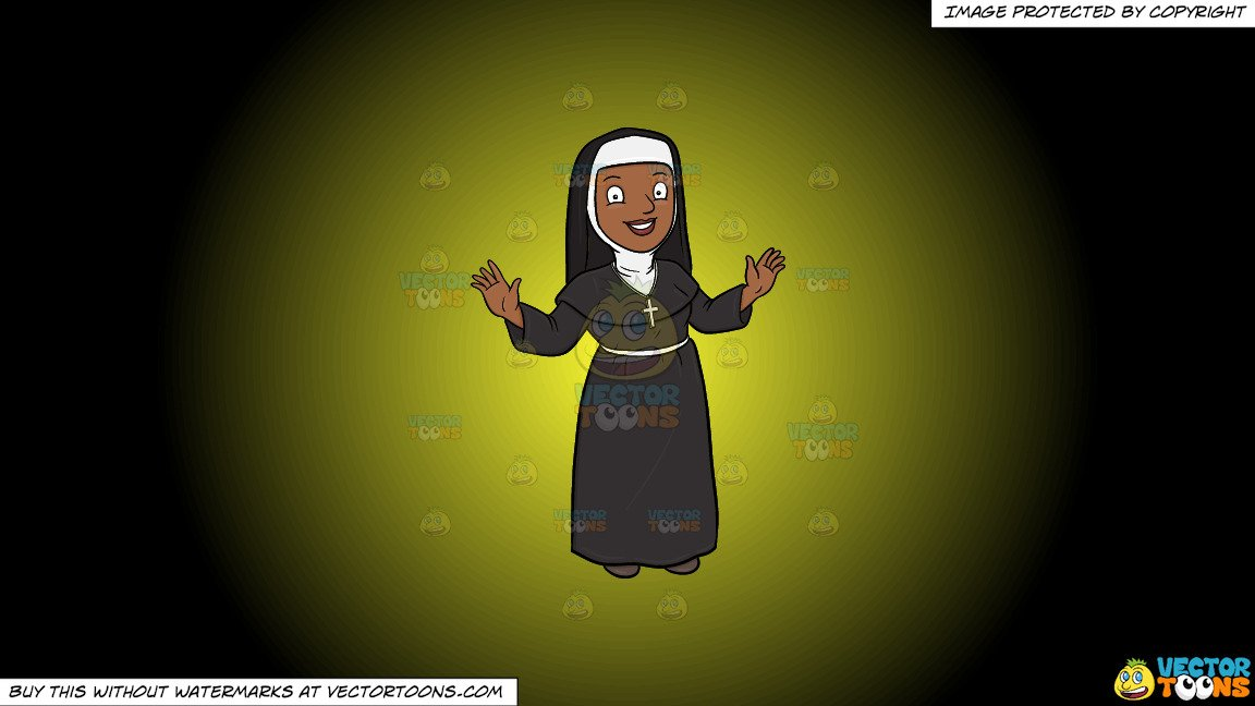 Nun taking a snapshot of the cross cliparts images clipart freeuse download Clipart: A Happy Black Nun Greeting Everyone A Warm Welcome on a Yellow And  Black Gradient Background clipart freeuse download
