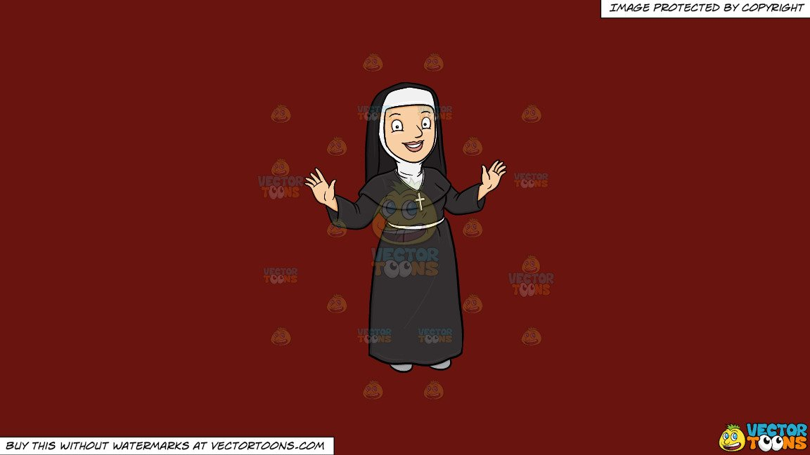 Nun taking a snapshot of the cross cliparts images jpg library library Clipart: A Happy Nun Greeting Everyone A Warm Welcome on a Solid Maroon  69140E Background jpg library library
