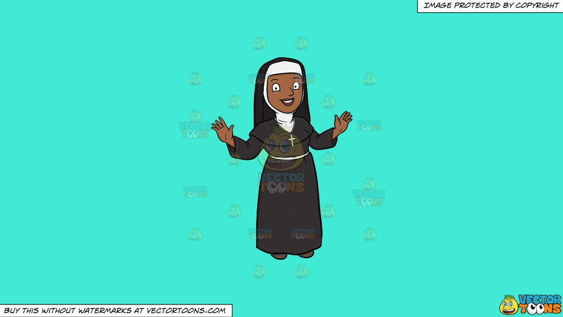 Nun taking a snapshot of the cross cliparts images vector Clipart: A Happy Black Nun Greeting Everyone A Warm Welcome on a Solid  Turquiose 41Ead4 Background vector