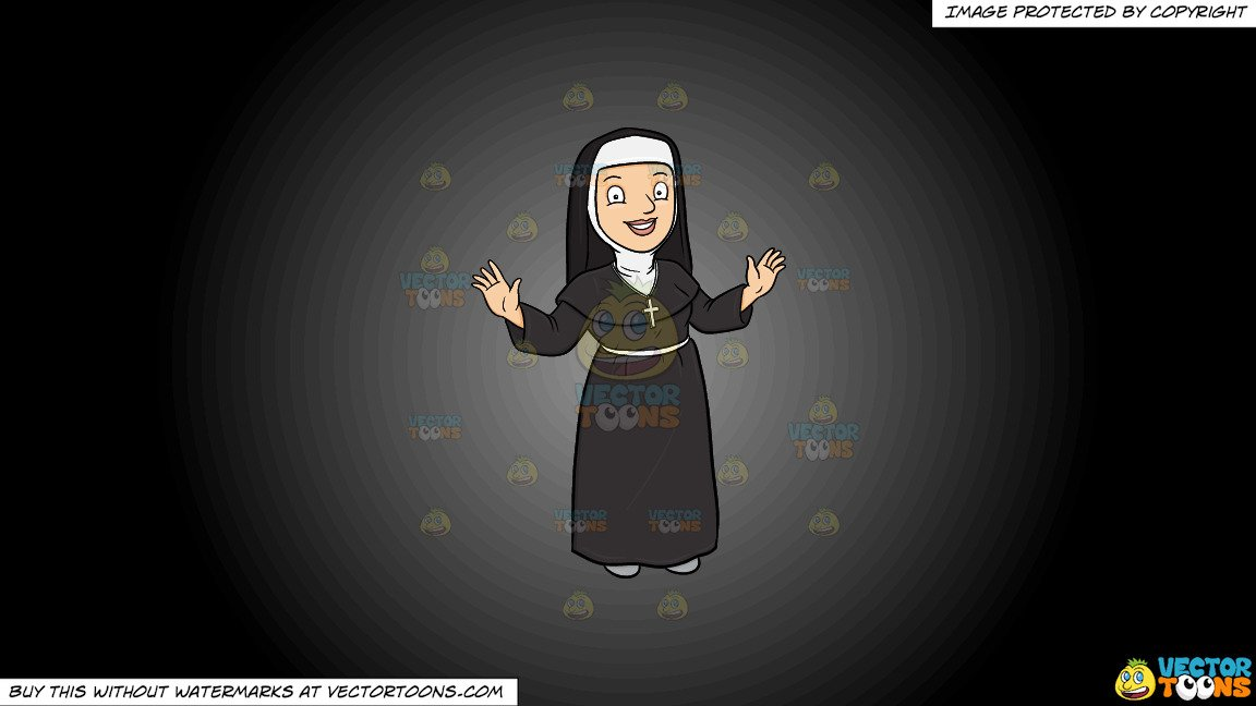 Nun taking a snapshot of the cross cliparts images black and white library Clipart: A Happy Nun Greeting Everyone A Warm Welcome on a Grey And Black  Gradient Background black and white library