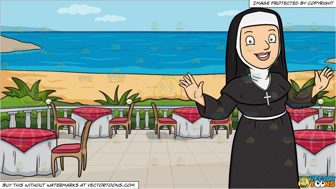Nun with neck brace clipart image freeuse A Happy Nun Greeting Everyone A Warm Welcome and A Restaurant Patio  Overlooking The Ocean Background image freeuse