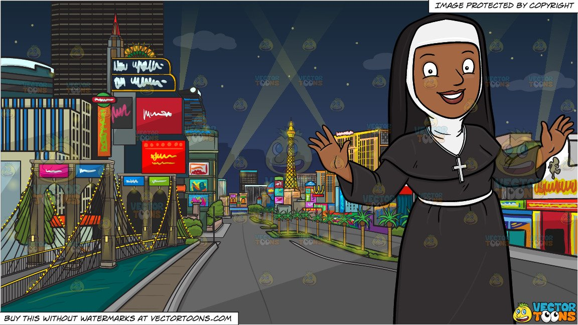 Nun with neck brace clipart image black and white download A Happy Black Nun Greeting Everyone A Warm Welcome and Las Vegas Strip At  Night Background image black and white download