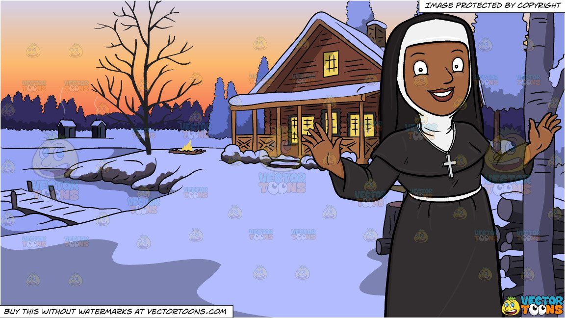 Nun with neck brace clipart vector library stock A Happy Black Nun Greeting Everyone A Warm Welcome and Winter Lake House  Background vector library stock