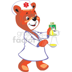 Nurse bear clipart picture free library Nurse teddy bear holding a spoon and a bottle with medicine clipart.  Royalty-free clipart # 370179 picture free library