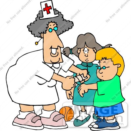 Nurse office clipart clipart stock 17690 School Nurse Woman Putting a Bandaid on a Student ... clipart stock