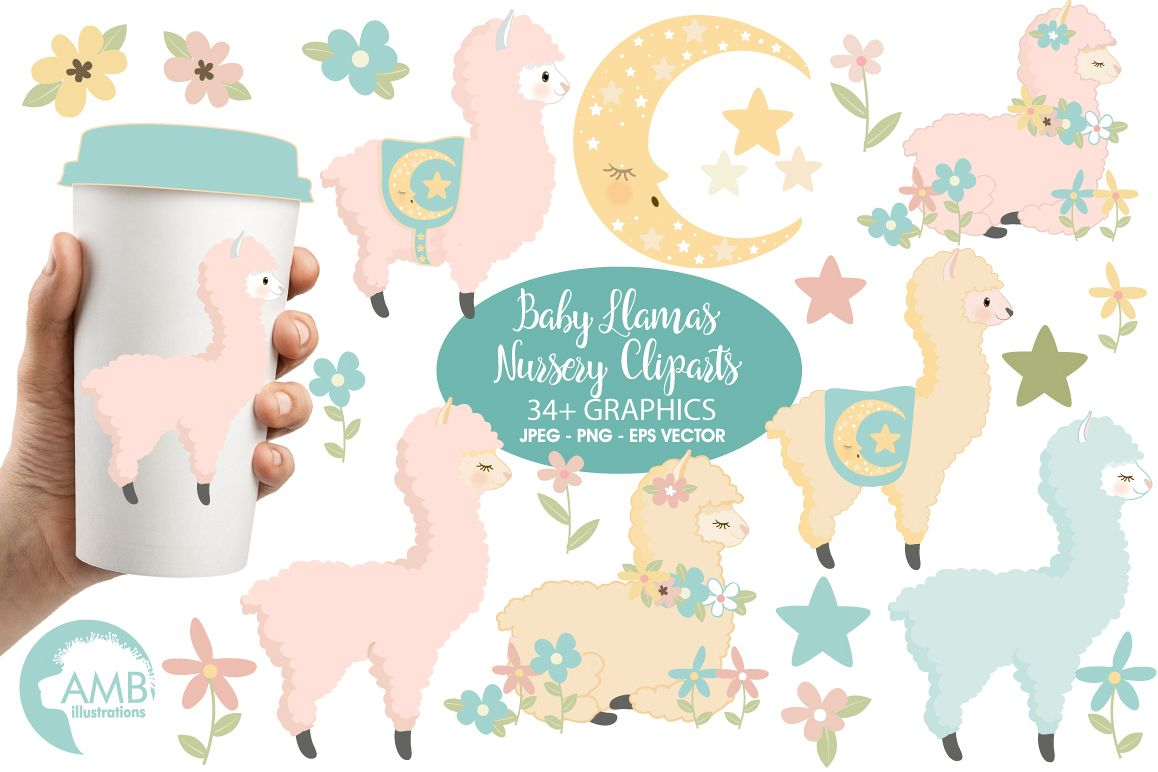 Nursery clipart images clipart free stock Baby Llama Nursery clipart, graphics, illustrations AMB-2266 clipart free stock