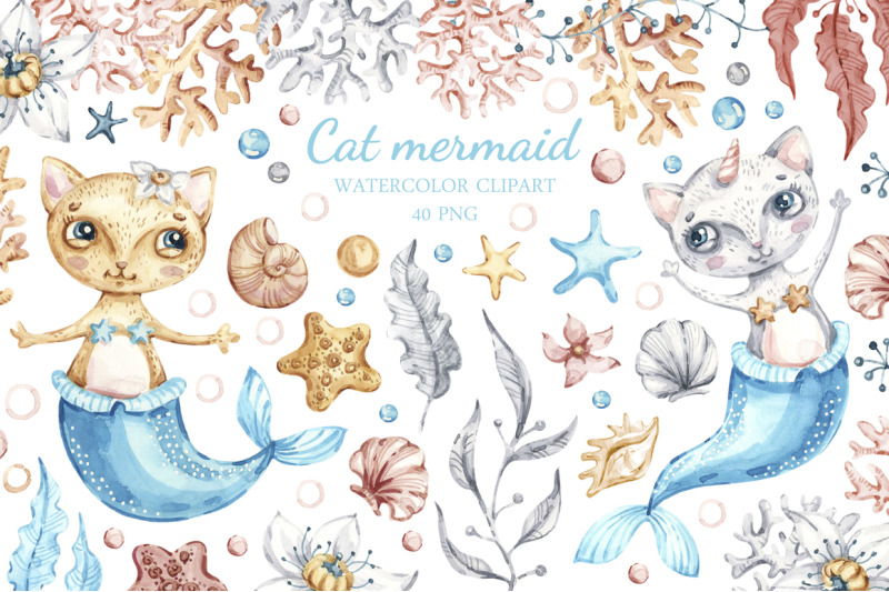 Nursery mermaid clipart graphic free download Nursery Cat Mermaid clipart. Watercolor Seashells clip art ... graphic free download