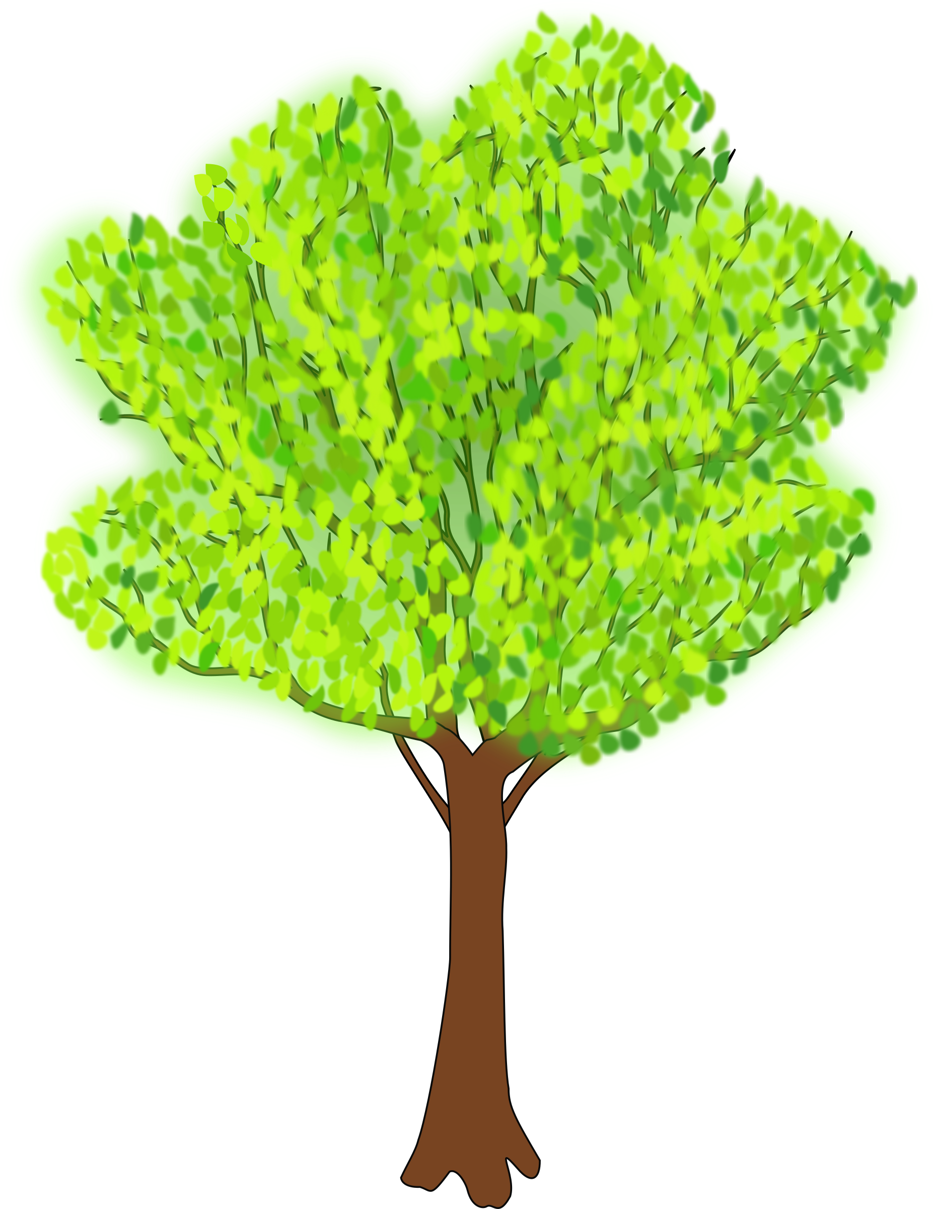 Nut tree clipart png black and white download Clipart - tree in summer png black and white download