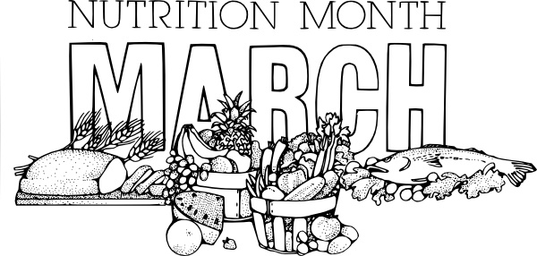 Nutrition month clip art svg black and white stock National Nutrition Month March clip art Free vector in Open office ... svg black and white stock