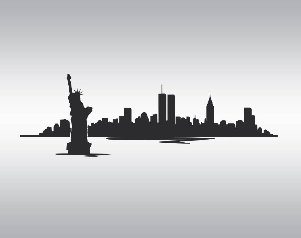 Nyc skyline silhouette clipart black and white vector Pin by Diane Williams on Silhoutte | Nyc skyline tattoo ... vector