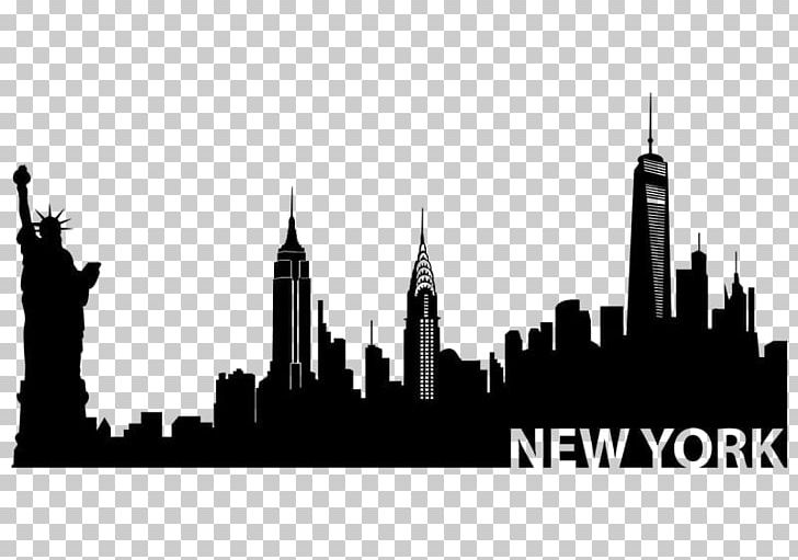 Nyc skyline silhouette clipart black and white freeuse download New York City New City Skyline Silhouette Mural PNG, Clipart ... freeuse download