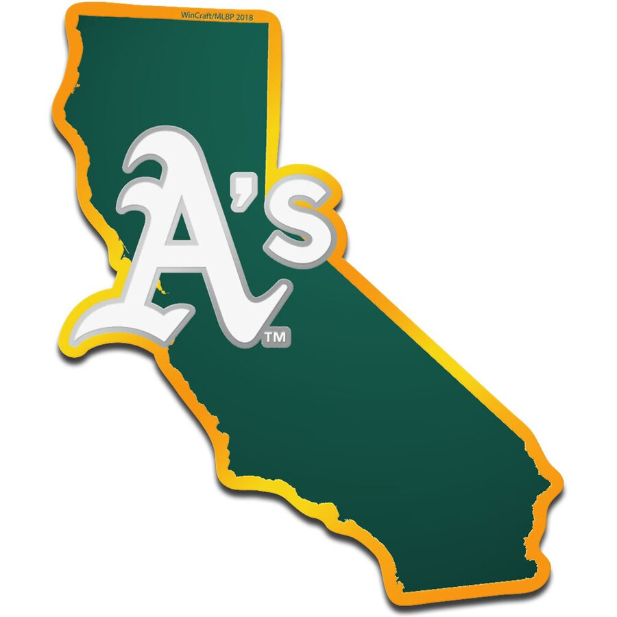 Oakland athletics clipart jpg freeuse WinCraft Oakland Athletics Metallic State Shape Acrylic Auto Emblem jpg freeuse