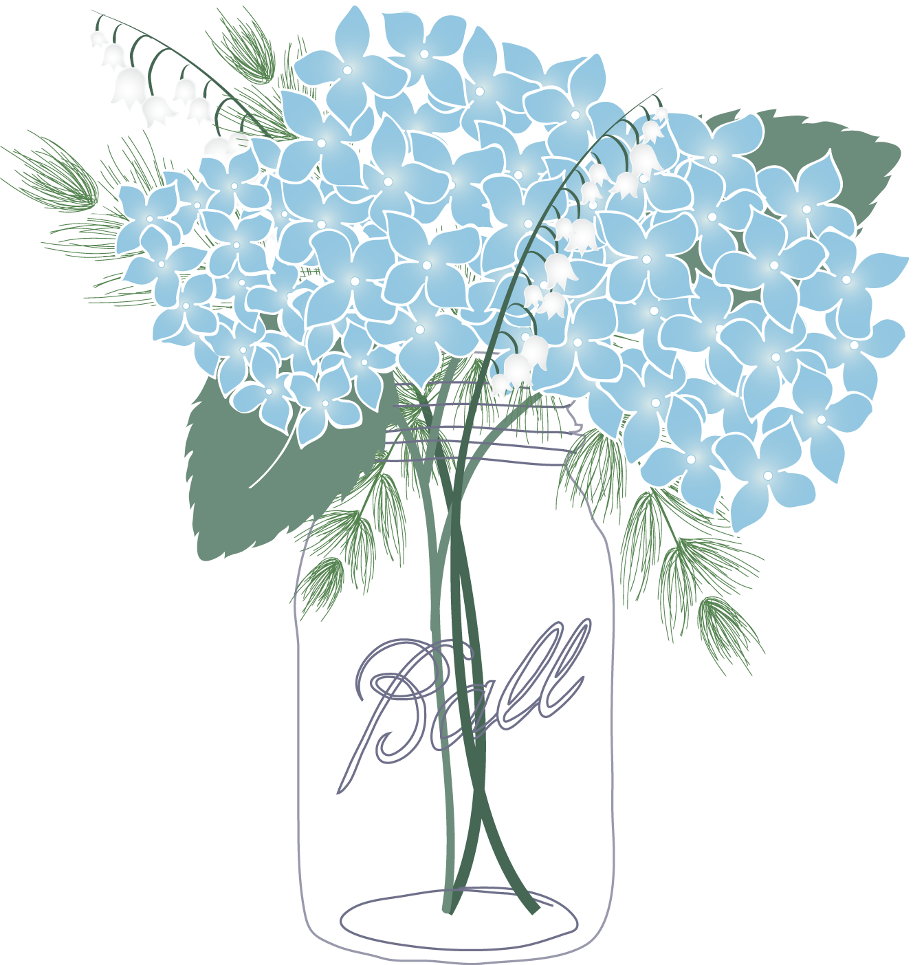 Oakleaf hydrangea clipart png freeuse stock French hydrangea Mason jar Oakleaf hydrangea Flower Clip art ... png freeuse stock
