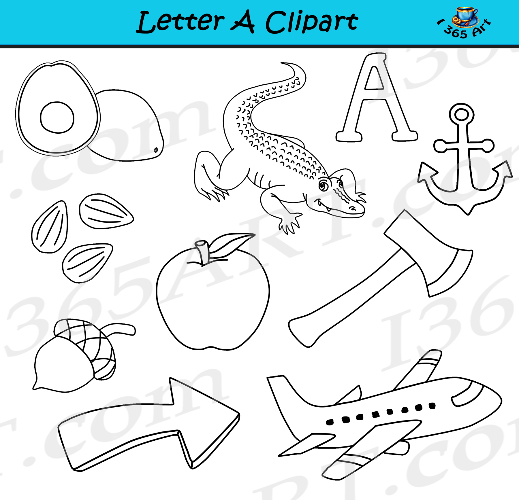 Objects that starts with letter a clipart jpg royalty free library Letter A Objects Clipart - Learning The Alphabets - Commercial Clipart for  School jpg royalty free library