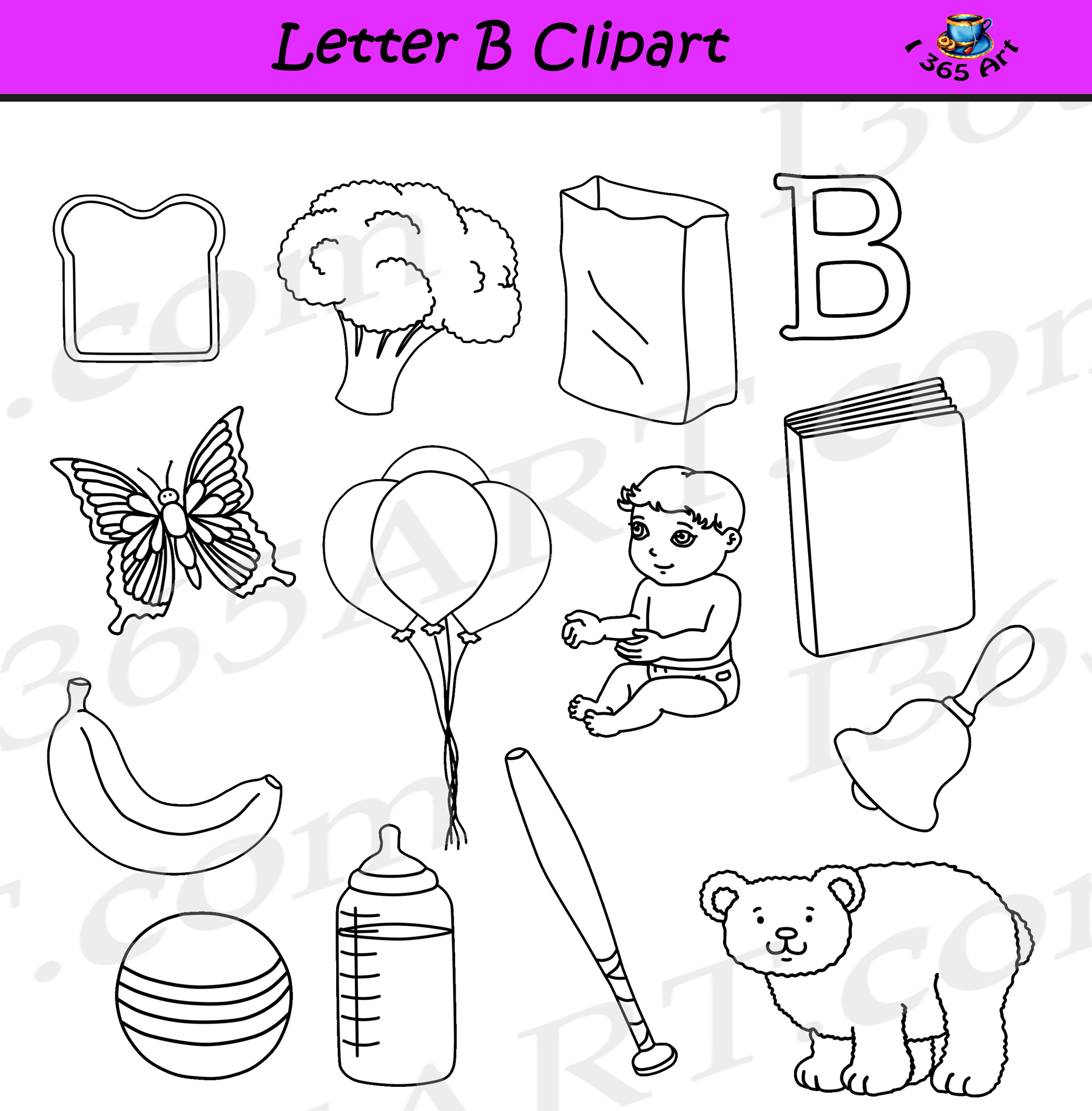 Objects starts with i clipart black and white clip black and white library Letter B clipart objects– Learning The Alphabets – Commercial Clipart for  School clip black and white library