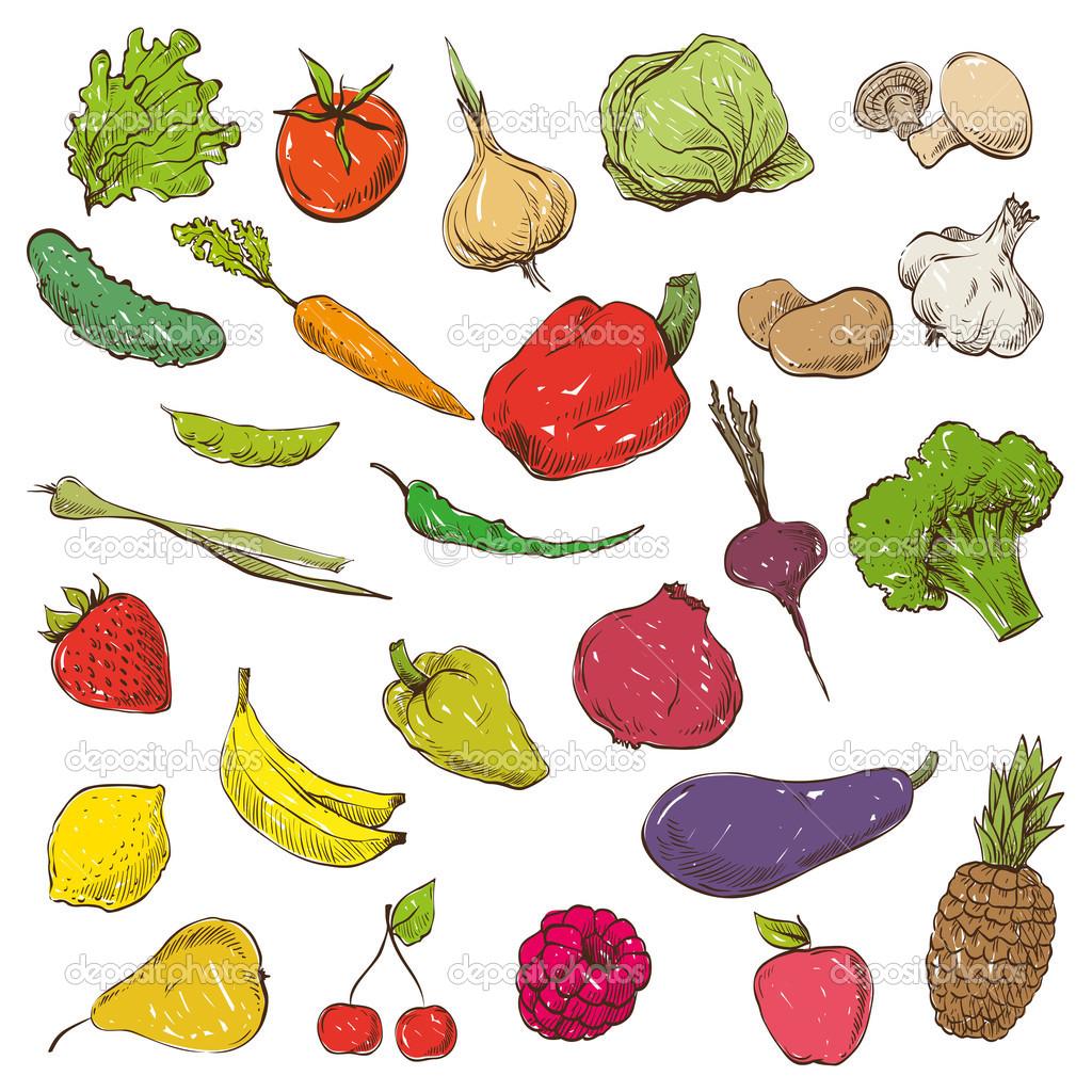 Obst und gemse clipart clip free stock Obst und Gemüse Hand gezeichnet — Stockvektor © Roman84 #54030653 clip free stock