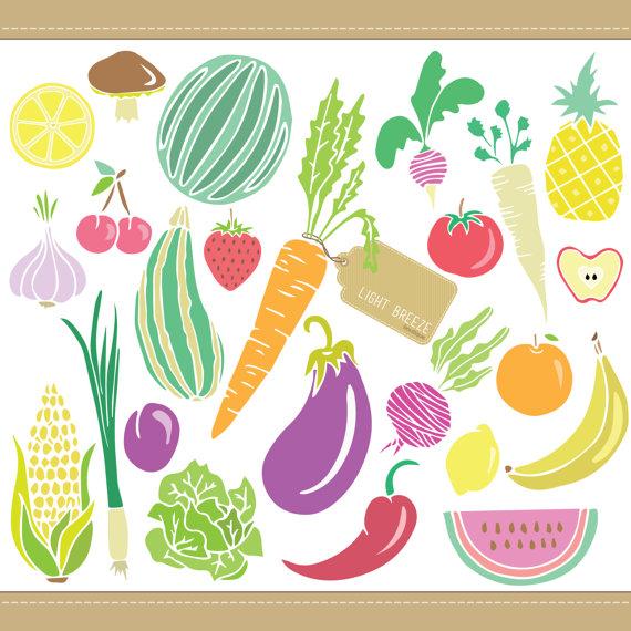 Obst und gemse clipart png library Obst & Gemüse Digital Clipart Set Teil1 sofort-Download png library