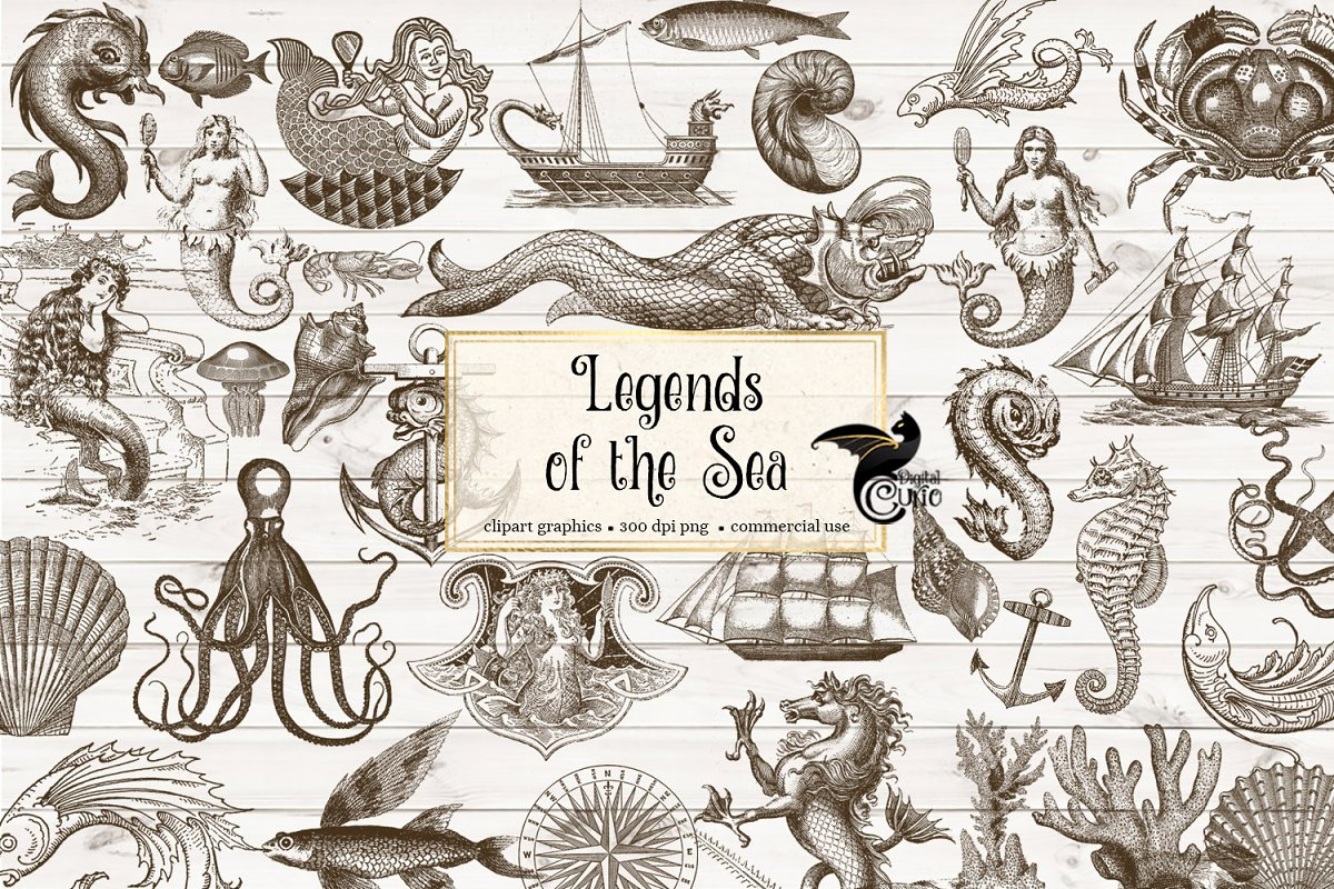 Ocean illustration clipart graphic royalty free Vintage Ocean Nautical Sea Clipart graphic royalty free