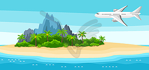 Ocean landscape clipart clipart black and white Tropical island in ocean. Landscape with airplane, - vector ... clipart black and white