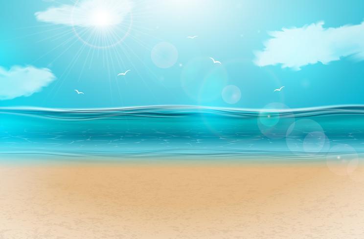 Ocean landscape clipart jpg free stock Vector blue ocean landscape background design with cloudy ... jpg free stock
