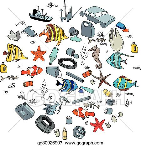 Ocean pollution clipart clip art free download Vector Stock - Water pollution in the ocean. garbage and waste ... clip art free download