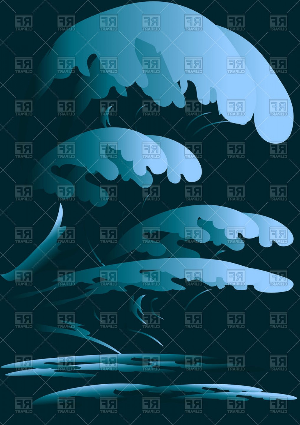 Ocean storm clipart graphic freeuse stock Night Sea Or Ocean Storm With Large Waves Vector Clipart | SOIDERGI graphic freeuse stock