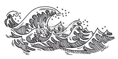 Ocean waves clipart black and white jpg black and white library Hand-drawn vector drawing of some Ocean Waves. Black-and ... jpg black and white library