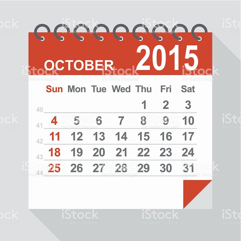 October 2015 calendar clipart transparent October 2015 Calendar Illustration stock vector art 513471411 | iStock transparent