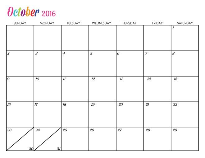 October 2016 clipart transparent download 2016 Calendar Word clipart transparent download
