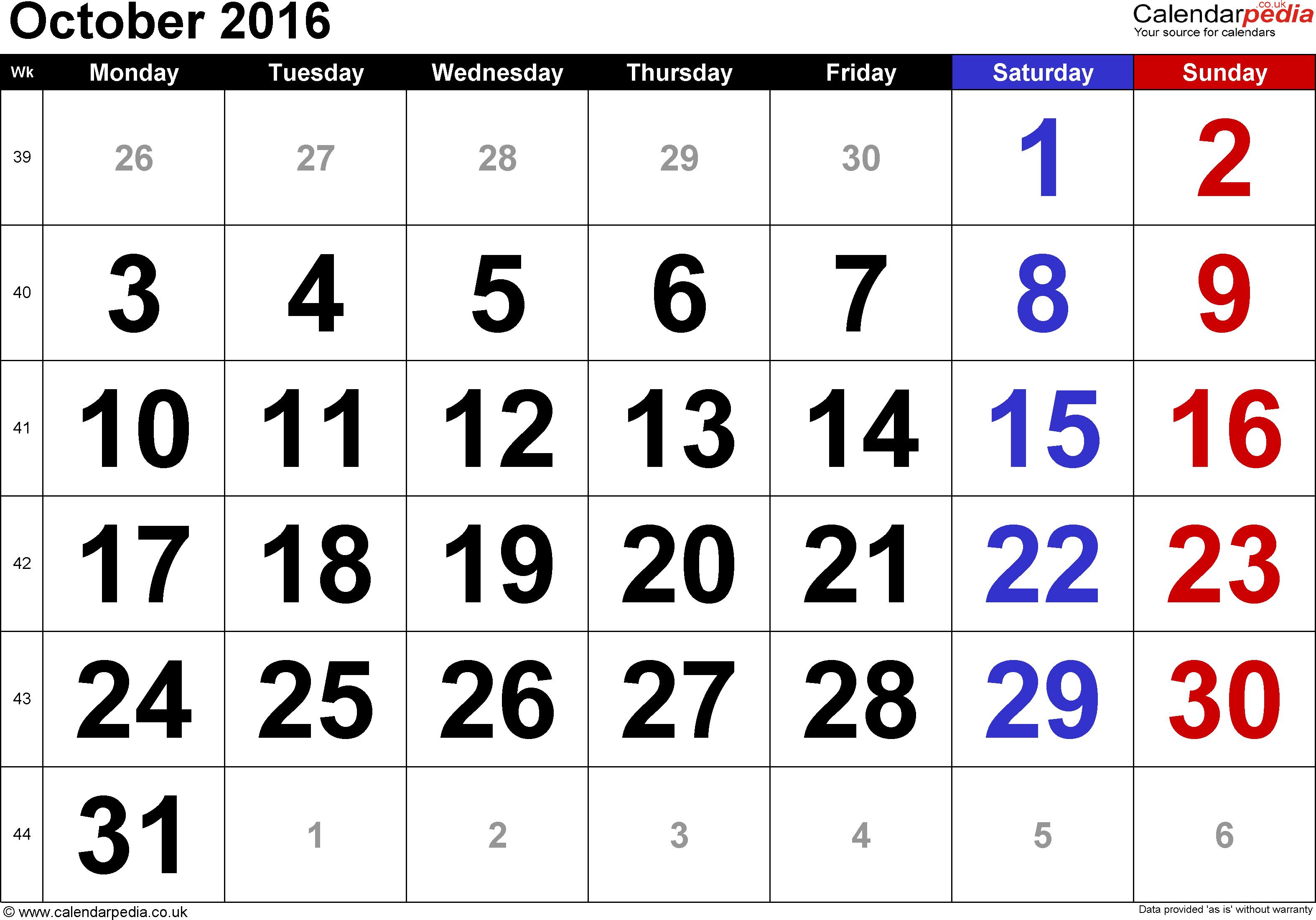 October 2016 svg library Calendar October 2016 UK, Bank Holidays, Excel/PDF/Word Templates svg library