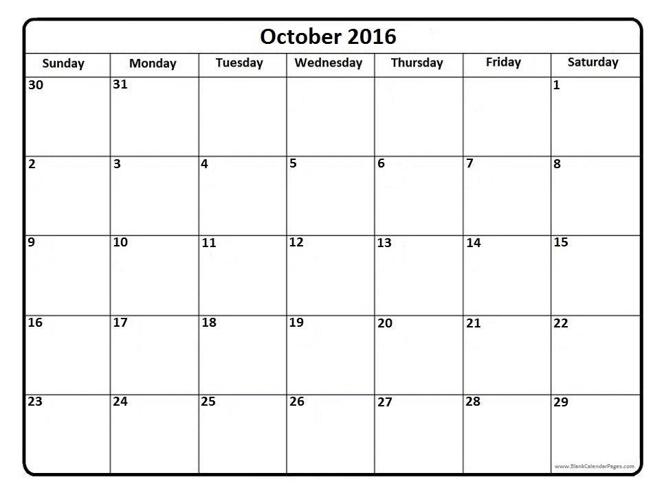 October 2016 clip black and white download 2016 Calendar Blank clip black and white download