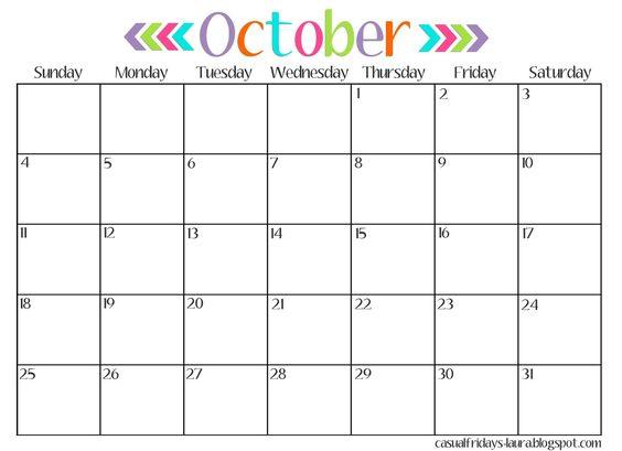 October 2016 vector transparent October 2016 Blank Calendar | October 2016 Calendar Printable vector transparent