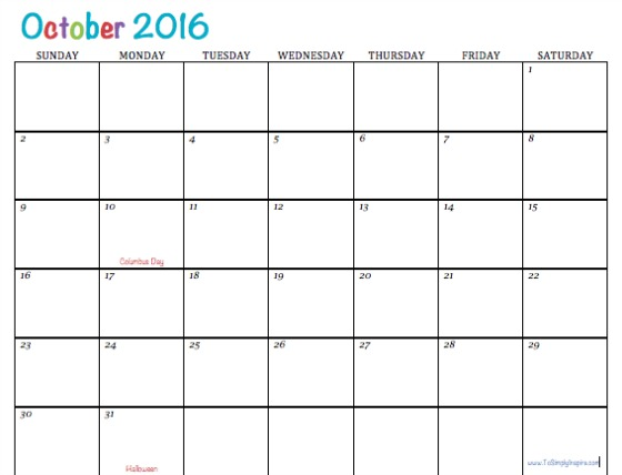 October 2016 picture free download Free Printable Calendar October 2016 picture free download