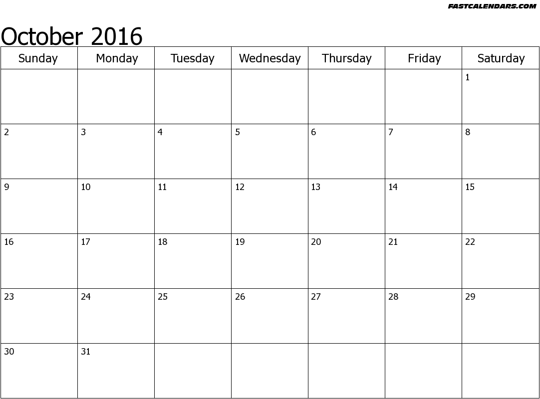 October 2016 clip art free library Printable October 2016 Calendar clip art free library