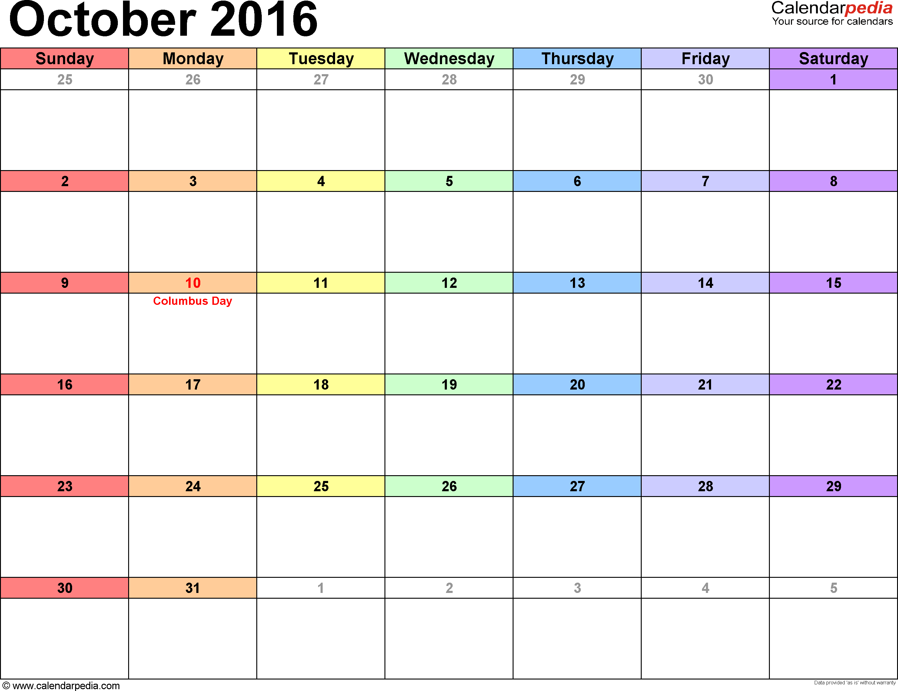October 2016 free stock October 2016 Calendars for Word, Excel & PDF free stock