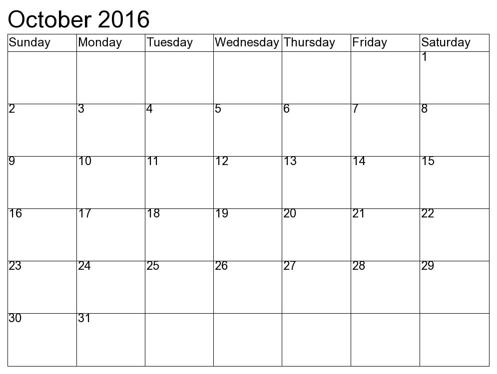 October 2016 vector free download October 2016 Calendar | monthly calendar printable vector free download