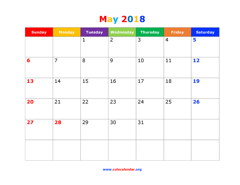 October 2016 calendar with clipart holidays image download May 2018 Holidays Us   Mysummerjpg.com image download