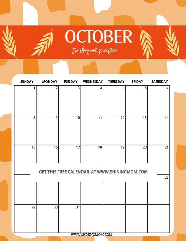October 2017 clipart image download Download oct 2017 calendar cute clipart Calendar 0 October image download