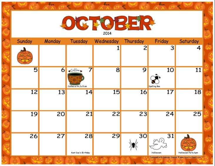 October calendar clip art svg stock October Calendar Clip Art - ClipArt Gallery svg stock