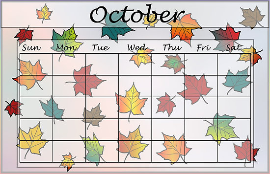 October calendar clipart png black and white Blank October calendar page