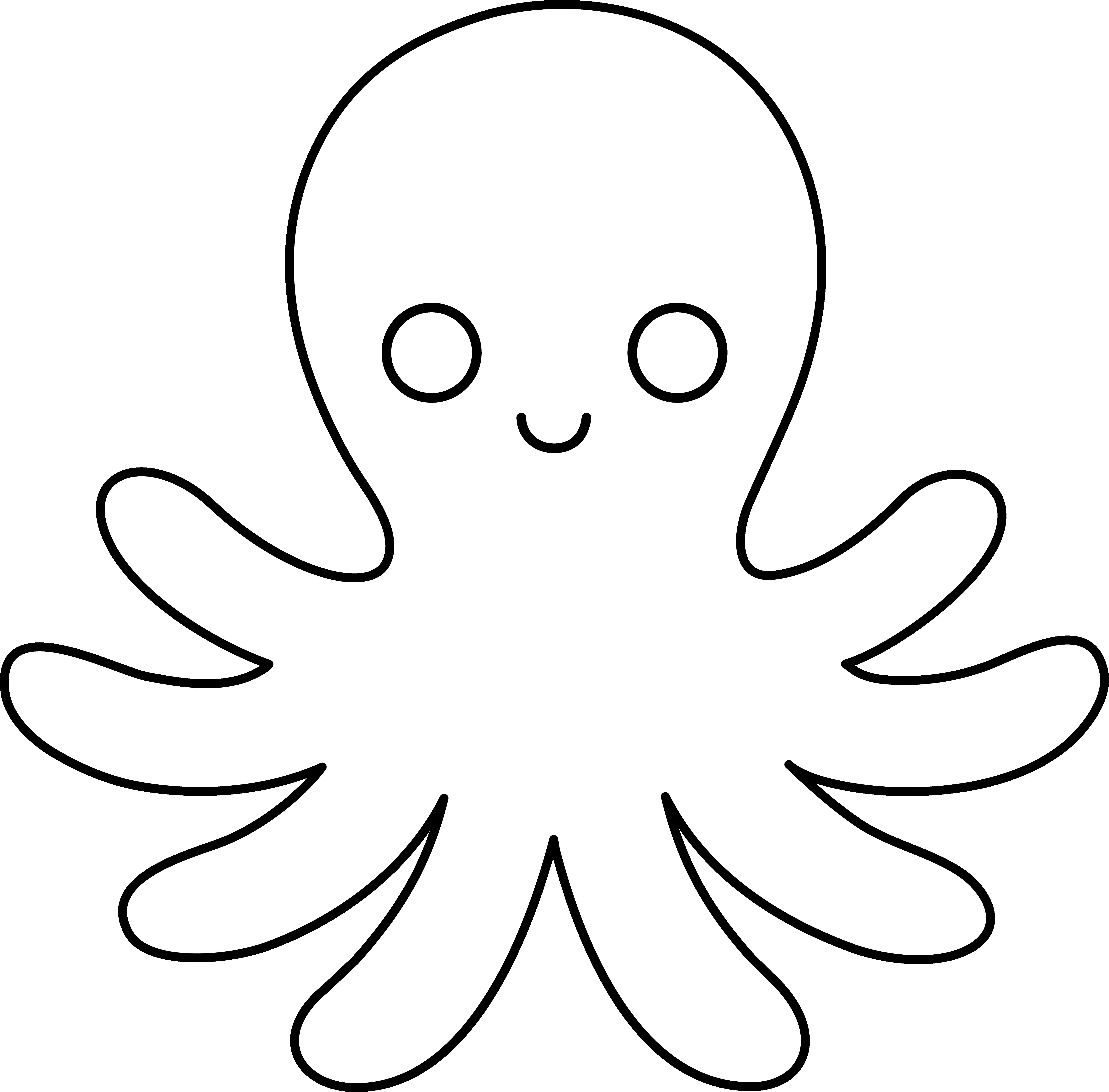 Octopus clipart outline banner freeuse download Octopus Clipart Black And White Line Art At | Clipart banner freeuse download
