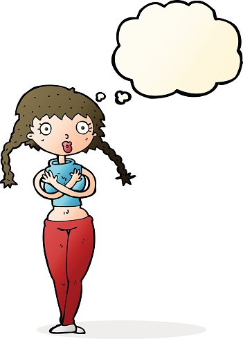 Offended clipart clip freeuse library Cartoon Offended Woman Covering Herself With Thought Bubble ... clip freeuse library