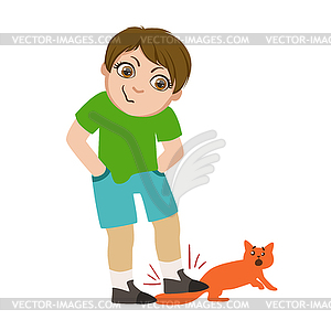 Offending clipart jpg free library Boy Stepping On Cats Tail, Part Of Bad Kids Behavio - vector ... jpg free library